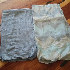 Aden & Anais 2 pc Blue Chevron Receiving Blankets